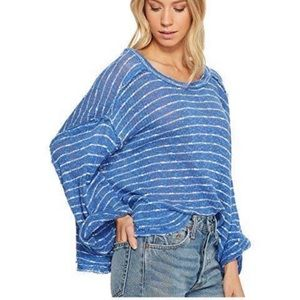 Free people we the free blue white striped top XS